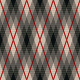 Rhombic seamless fabric pattern in gray and red Royalty Free Stock Images