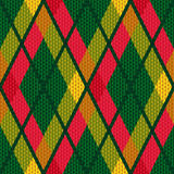 Rhombic tartan green and red fabric seamless textu Stock Image