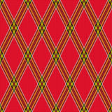 Rhombic tartan red fabric seamless texture Stock Image