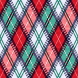 Rhombic tartan seamless texture in red and turquoise hues Stock Photo