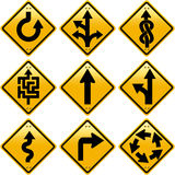 Rhombic yellow road signs with arrows directions Stock Photography