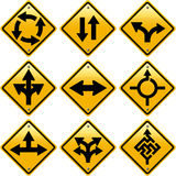 Rhombic yellow road signs with arrows directions stock illustration