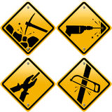 Rhombic yellow road signs with tools Stock Image