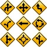 Rhombische gelbe Verkehrsschilder mit Pfeilrichtungen Lizenzfreie Stockbilder