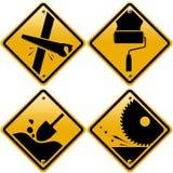 Rhombische gelbe Verkehrsschilder mit Werkzeugen Stockfoto