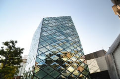 Rhomboid-grid Glass Building In Tokyo Royalty Free Stock Photography
