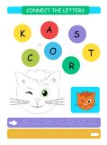 Connect the letters. Printable worksheet for preschool and kindergarten kids. Alphabet learning letters and coloring. Vector illus. Connect the letters stock illustration