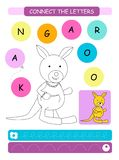 Connect the letters - Kangaroo. Printable worksheet for preschool and kindergarten kids. Alphabet learning letters and coloring. H. Andwriting practice. Vector vector illustration