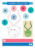 Connect the letters - Impala. Printable worksheet for preschool and kindergarten kids. Alphabet learning letters and coloring. Han. Dwriting practice. Vector royalty free illustration