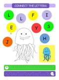 Connect the letters - Jellyfish. Printable worksheet for preschool and kindergarten kids. Alphabet learning letters and coloring. Handwriting practice. Vector vector illustration