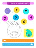 Connect the letters - Fish. Printable worksheet for preschool and kindergarten kids. Alphabet learning letters and coloring. Handw. Riting practice. Vector vector illustration