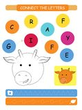 Connect the letters - Giraffe. Printable worksheet for preschool and kindergarten kids. Alphabet learning letters and coloring. Ha. Ndwriting practice. Vector stock illustration