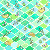 Rhombus abstract seamless pattern with leaves and butterflies Stock Photos