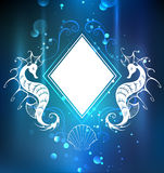 Rhombus banner with seahorse Royalty Free Stock Photos
