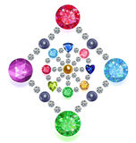 Rhombus-circle composition colored gems set. Set of colored gems located on a rhombus & circle isolated on white background, vector illustration vector illustration
