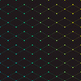 Rhombus. Dots connected with lines, geometric background with cubes with gradient color Stock Photo