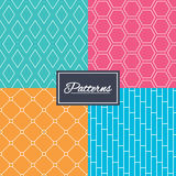 Rhombus, hexagon and grid with circles textures. Royalty Free Stock Images