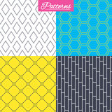 Rhombus, hexagon and grid with circles textures. Royalty Free Stock Photo