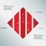 Rhombus illustration template consists of five red parts on light-blue background. Illustration infographic template with shape of rhombus. Square shape Royalty Free Stock Images