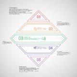 Rhombus infographic template divided to five parts from double outlines Royalty Free Stock Image