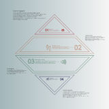 Rhombus infographic template divided to four parts from double outlines Stock Image