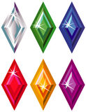Rhombus or kite cut precious stones with sparkle. Illustration of rhombus or kite cut precious stones with sparkle isolated on white Royalty Free Stock Photo