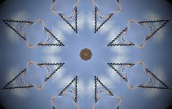 Rhombus metal structure extruded mandala. Abstract of metal structure with rhombus around octagon shapes. Blue, white, brown. Small squares extruded mandala Royalty Free Stock Photos