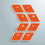 Rhombus Orange Arrow 8 Options PiAd. Infographic design with rhombus star on the grey background. Eps 10  file Stock Photography