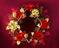 Rhombus with roses Stock Photos