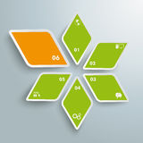 Rhombus Star Green Orange Successful One PiAd. Infographic design with colored rhombus star on the grey background. Eps 10  file Royalty Free Stock Photo