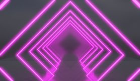 Rhombus tunnel made of pink neon lights. Rhombus tunnel made of pink neon lights, retro style 3D render vector illustration