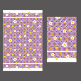 Rhombus and yellow flowers 60s pattern seamless Royalty Free Stock Photos