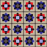 Rhombuses and squares on a checkered background. Royalty Free Stock Images