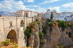 Rhonda, Spain. New bridge and houses on the edge of an abyss in the city Rhonda, Spain Royalty Free Stock Photo