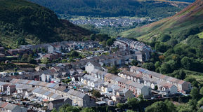 Rhondda Fach. Terraced housing in the villages of Ferndale and Maerdy in the Rhondda Fach valley, South Wales Royalty Free Stock Photos