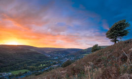 Rhondda Fawr. A view from Penrhys looking down on Ystrad, Ton Pentre and Treorchy Royalty Free Stock Photo