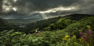 The Rhondda Valley. A view looking up the Rhondda valley towards Trehafod and Porth from Graig Wen, Pontypridd Stock Image