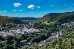 Rhondda. A view of the Rhondda Fach valley in south Wales 2016 showing the former coal mining villages of Blaenllechau, Ferndale and Maerdy Stock Photos