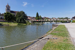 The Rhone–Rhine Canal in Dole Stock Photography
