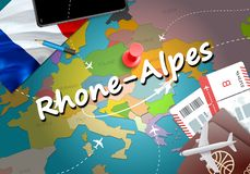 Rhone-Alpes city travel and tourism destination concept. France. Flag and Rhone-Alpes city on map. France travel concept map background. Tickets Planes and stock illustration