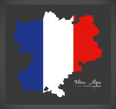 Rhone -  Alpes map with French national flag illustration Stock Image