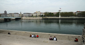 The Rhone banks in Lyon Royalty Free Stock Images