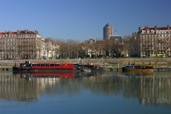 The Rhone banks in Lyon Royalty Free Stock Photo