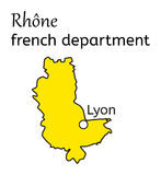 Rhone french department map Stock Image