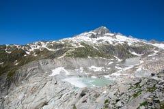Rhone glaciär royaltyfria foton