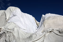Rhone Glacier in Switzerland covered with fleece against melting Royalty Free Stock Images