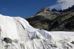Rhone Glacier in Switzerland covered with fleece against melting Royalty Free Stock Photography