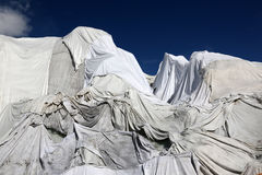 Rhone Glacier in Switzerland covered with fleece against melting Stock Images