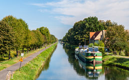 Rhone - Rhine Canal in Alsace, France Stock Images