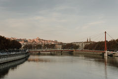Rhone river. In Lyon with the view at bridge Palace de justice royalty free stock photography